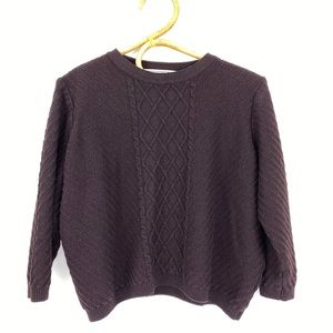 St John Sport Cable Knit Wool Rayon Sweater Small